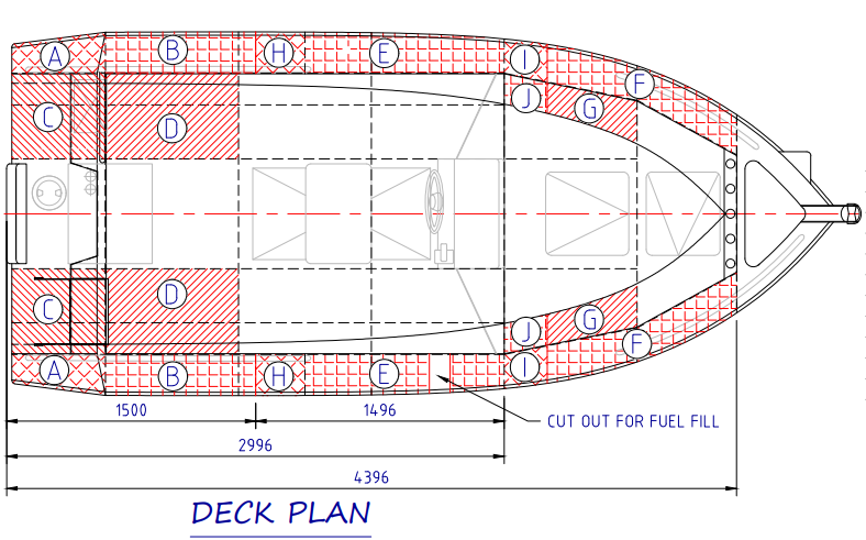 Flotation placement in Waverider Boats shown on deck plan