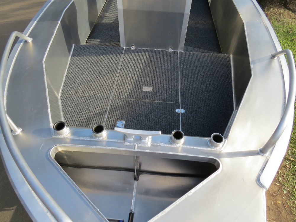 Forward deck, including anchor well and rod holders