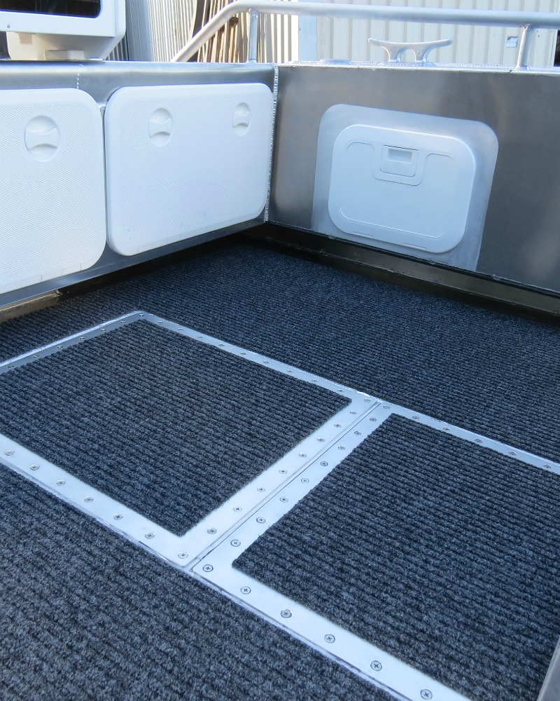 Side and rear storage areas on Waverider 500, as well as foot access underneath.