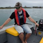 The cushioned box storage seats allow easy access to the outboard and a comfortable driving position.