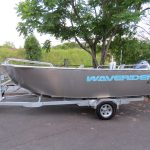 Approx 800kgs of towed weight, the boat sits low on the Waverider built single axle custom alloy trailer.