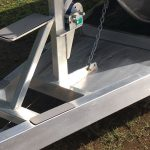 Grippy steps make it easy to board the boat from the ramp, suited for the solo fisherman.